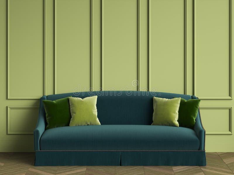 Smaragdgroene bank met groene hoofdkussens in klassiek binnenland met exemplaarruimte vector illustratie