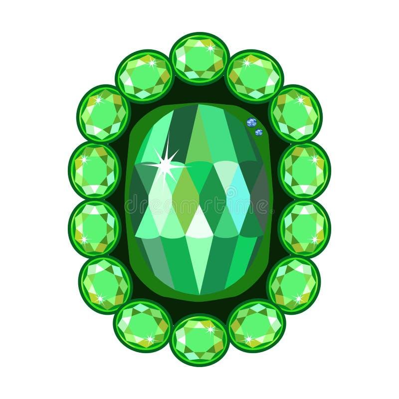 Smaragdgroene broche vector illustratie