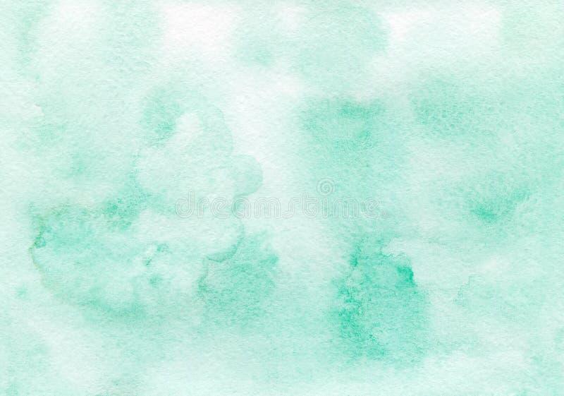 Smaragdgroene met de hand geschilderde waterverfachtergrond royalty-vrije stock foto's