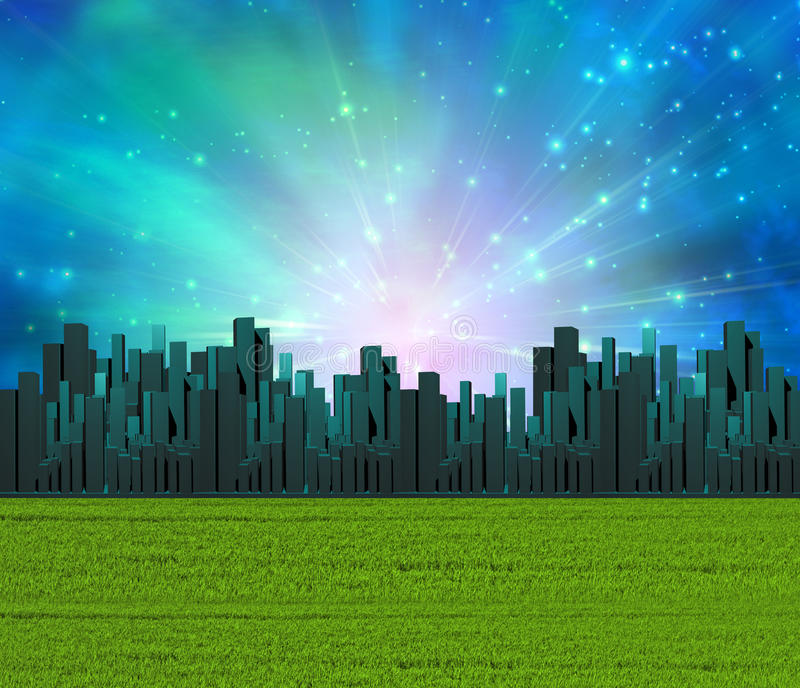 Smaragdgroene stad royalty-vrije stock afbeeldingen