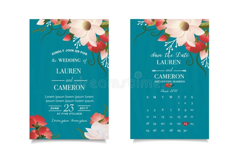Smaragdgroene uitnodigingskaart met aangepaste datum Prachtige bloemenachtergrond royalty-vrije illustratie