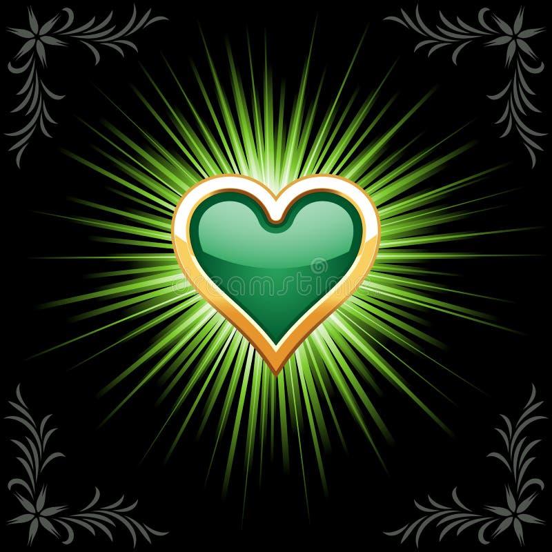 smaragdhjärta vektor illustrationer
