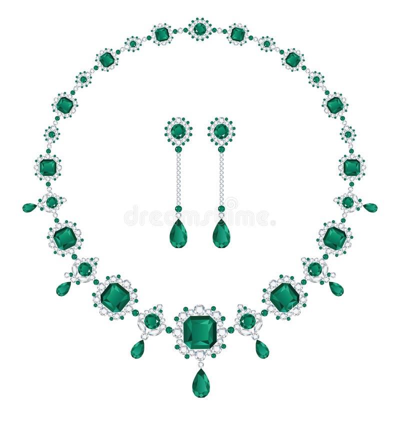 Smaragdsmycken royaltyfri illustrationer