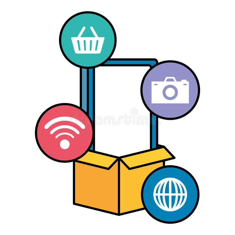 Smarphone device with ecommerce icons. Vector illustration design royalty free illustration