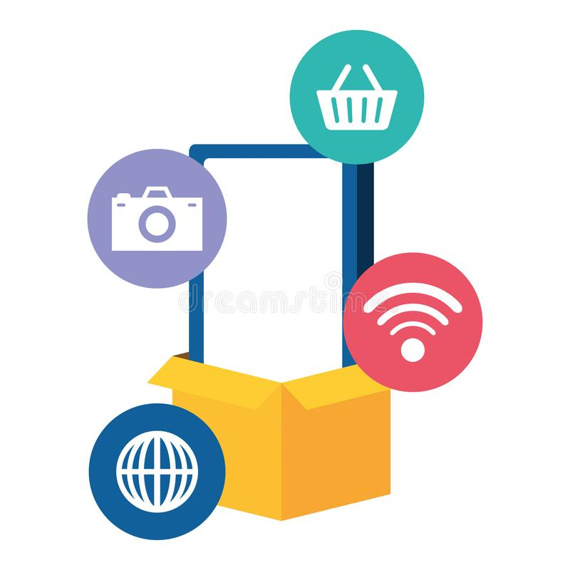 Smarphone device with ecommerce icons. Vector illustration design vector illustration