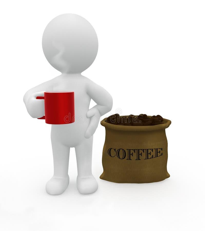 Smart喝好咖啡的Guy先生 皇族释放例证
