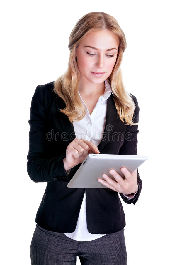 Smart affärskvinna som arbetar på minnestavlan arkivfoto