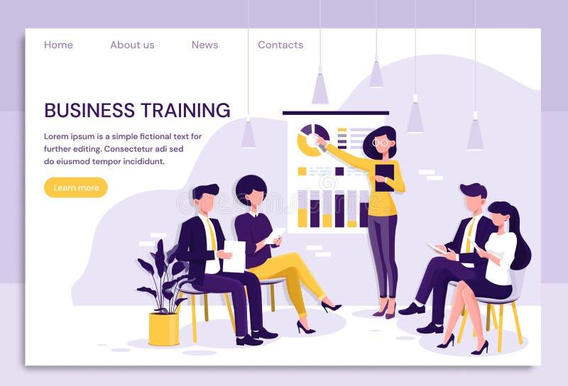 Smart affärskvinna som ger en presentation till kollegor under i husaffärsutbildning som pekar till diagram och royaltyfri illustrationer