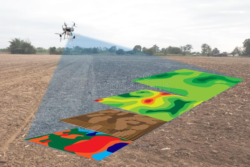 Smart agriculture concept, farmer use infrared in drone with high definition soil mapping while planting,conduct deep soil scan d. Uring a tillage pass include royalty free stock photo