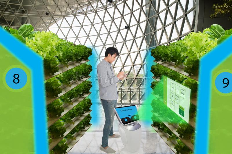 Smart agriculture in futuristic concepts,smart farmer monitor, k royalty free stock photography