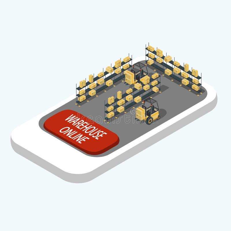 Smart app för lagerledningsystem Smartphone med lagerhyllor och gaffeltruckar och lageronline-knappen isometriskt royaltyfri illustrationer