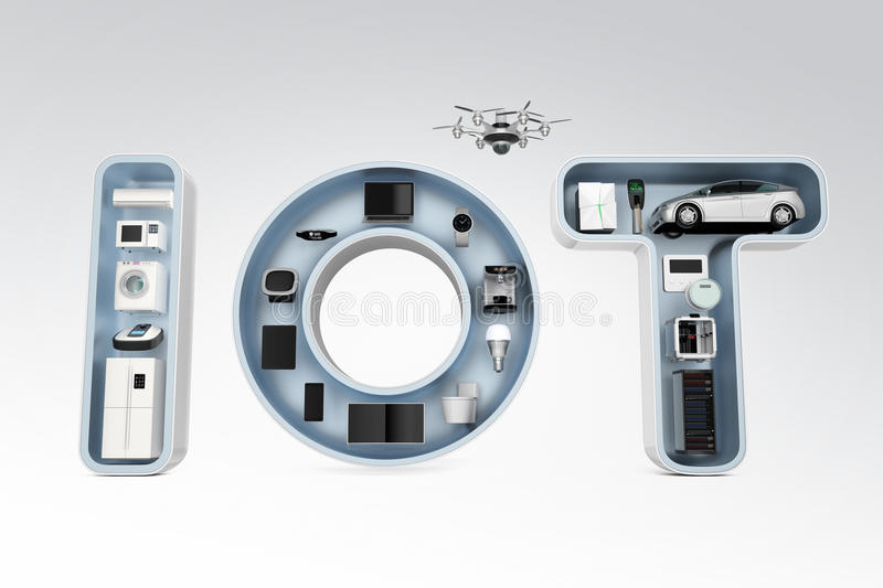 Smart appliance in word IoT. stock image