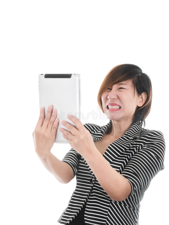 Smart Asian business woman on white stock image