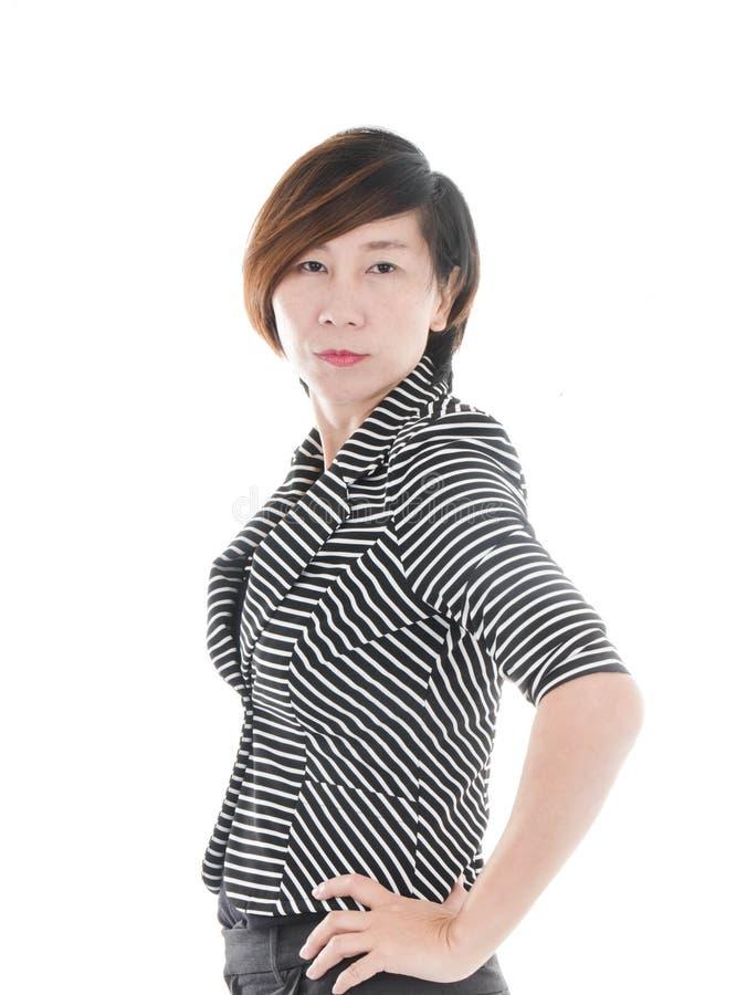 Smart Asian business woman on white stock photo