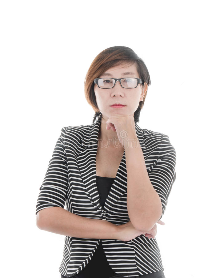 Smart Asian business woman on white royalty free stock image