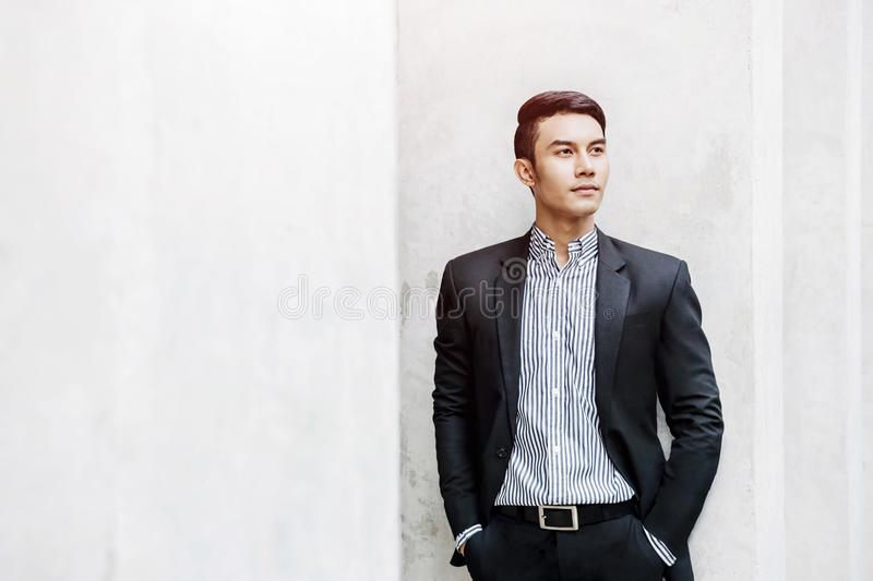 Smart Asian Businessman in Casual Suit, Looking forward for Success in Future, Business Vision Management and Leadership Concept stock photos
