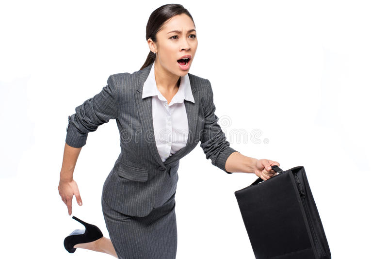 Smart Asian Woman In A Hurry stock photos