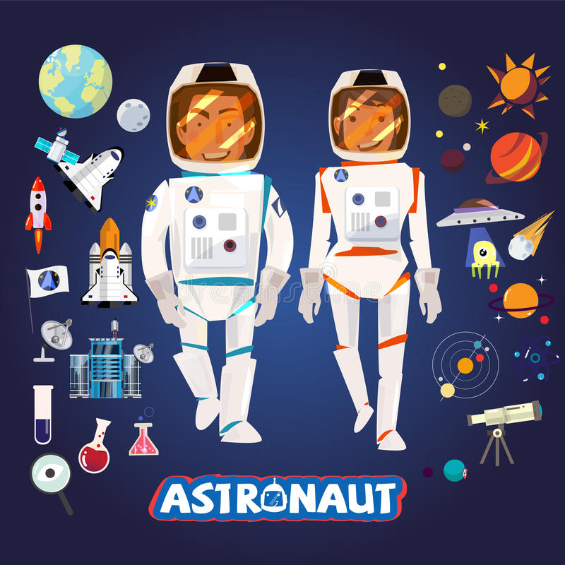 Smart Astronaut male and female, character with icons set, typographic for vector royalty free illustration