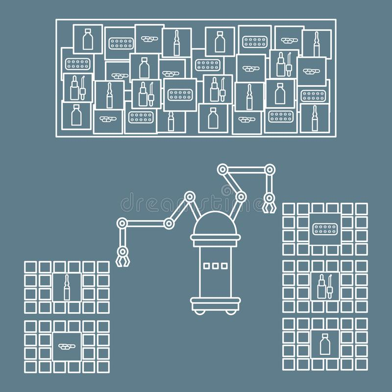 Smart automatisk robotic sortering av droger Utbyte av folk med robotic mekanism Utveckling av konstgjord intelligens stock illustrationer