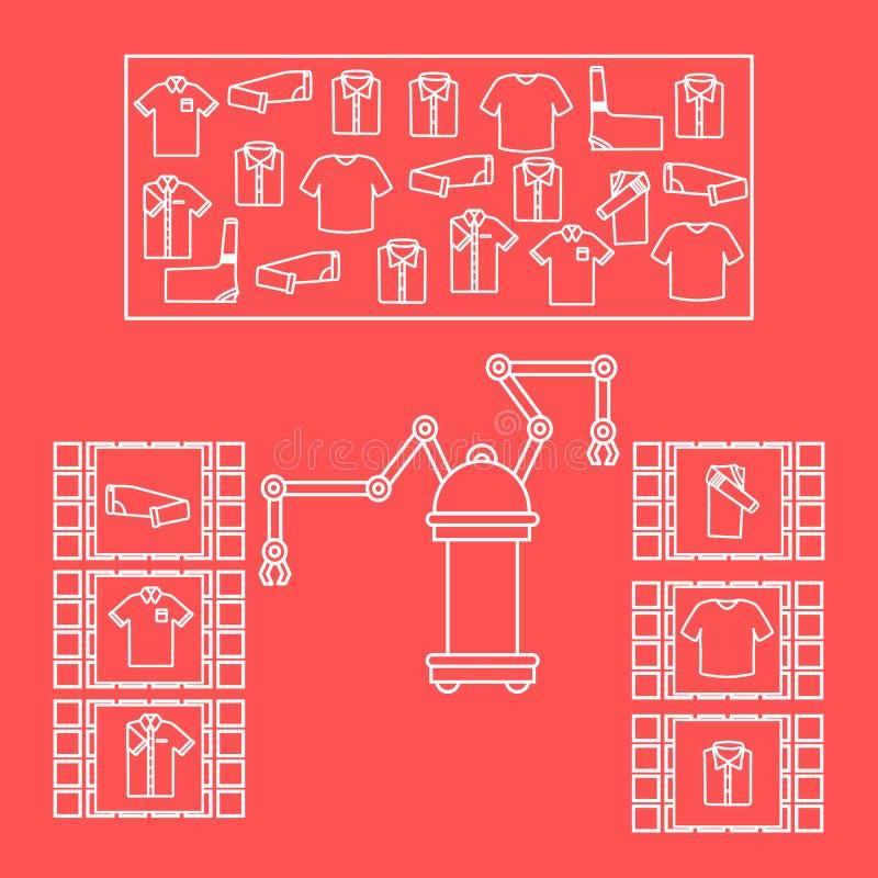 Smart automatisk robotic sortering av kl?der Utbyte av folk med robotic mekanism Utveckling av konstgjord intelligens royaltyfri illustrationer