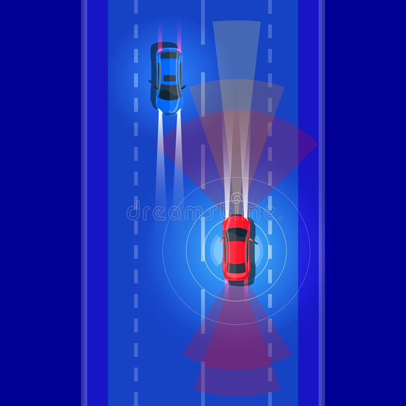 Smart Autonomous Car Driving on Road Traffice and Scanning Distance with Radars. Vector illustration of smart autonomous driverless electric car driving on road royalty free illustration