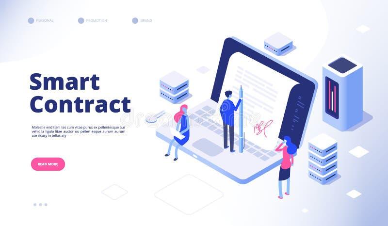 Smart avtal Vektor för överenskommelse för kryptografi för facilitator för protokoll för avtal för elektroniskt dokument för Digi royaltyfri illustrationer