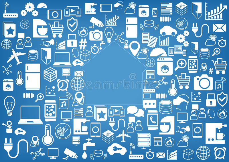Smart bakgrund för hem- automation Symboler/symboler för olika apparater och avkännare stock illustrationer