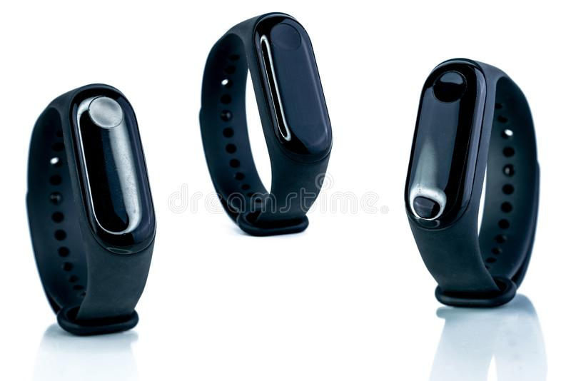 Smart band. Fitness device. Activity or fitness tracker. Smart watch connected device. Sleep tracker. Wristband for Medical stock photos