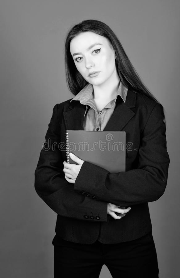 Smart beauty. nerd girl student in formal clothes. business fashion. Schoolgirl with document folder. woman in jacket. With paper notes. ready for lesson stock photography