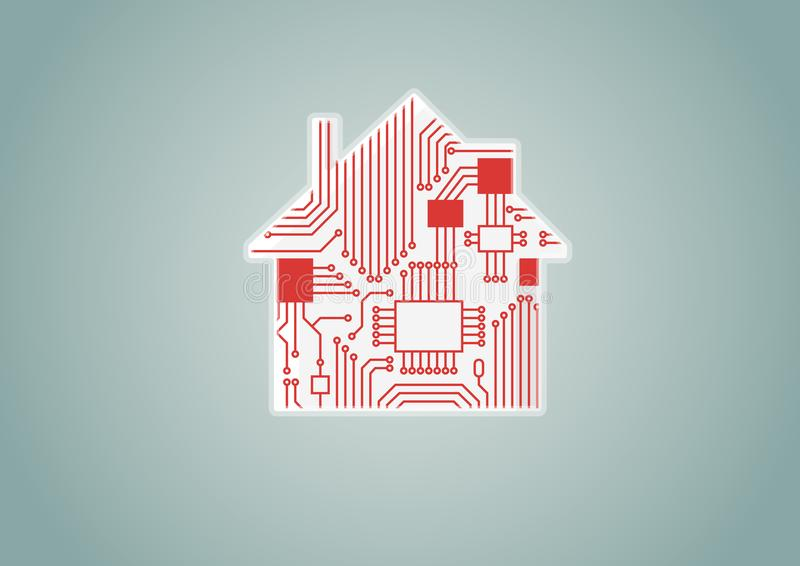 Smart begrepp för hem- automation som exemplet för digitizationillustration av det digitala huset med strömkretsbrädet stock illustrationer