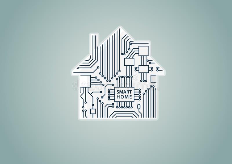 Smart begrepp för hem- automation som exemplet för digitizationillustration av det digitala huset med strömkretsbrädet royaltyfri illustrationer