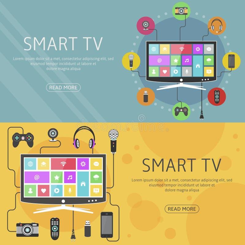Smart begrepp och baner för TVlägenhetdesign Moderna digitala apparater förbindelse till en television vektor illustrationer
