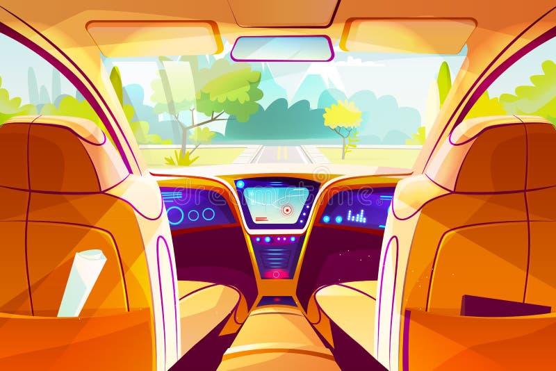 Smart bil inom inre vektorillustration royaltyfri illustrationer