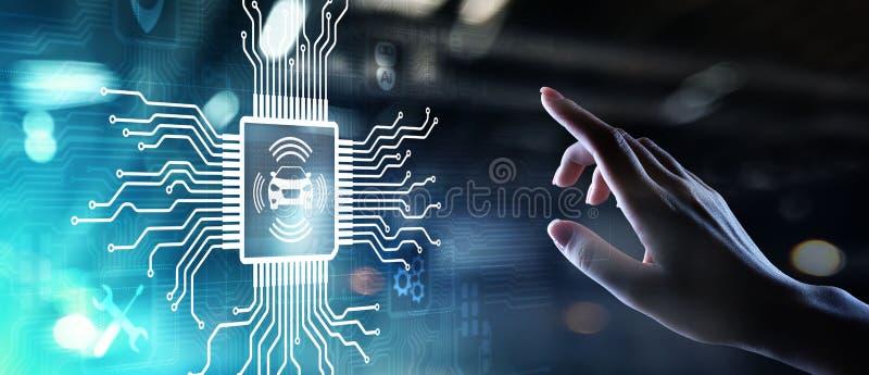 Smart bil IOT och modernt automationteknologibegrepp p? den faktiska sk?rmen stock illustrationer