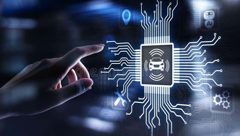 Smart bil IOT och modernt automationteknologibegrepp p? den faktiska sk?rmen arkivbild
