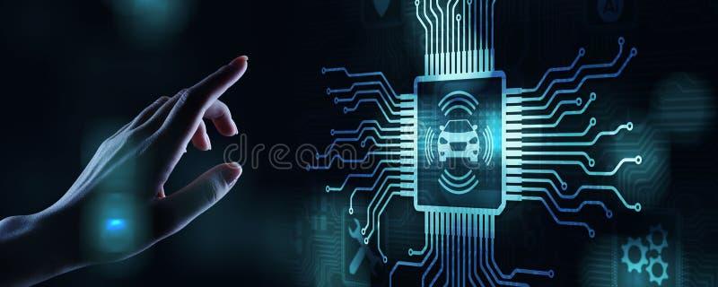Smart bil IOT och modernt automationteknologibegrepp p? den faktiska sk?rmen royaltyfri fotografi