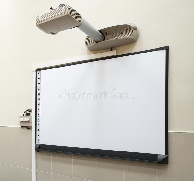 Smart board being used in a classroom royalty free stock photography