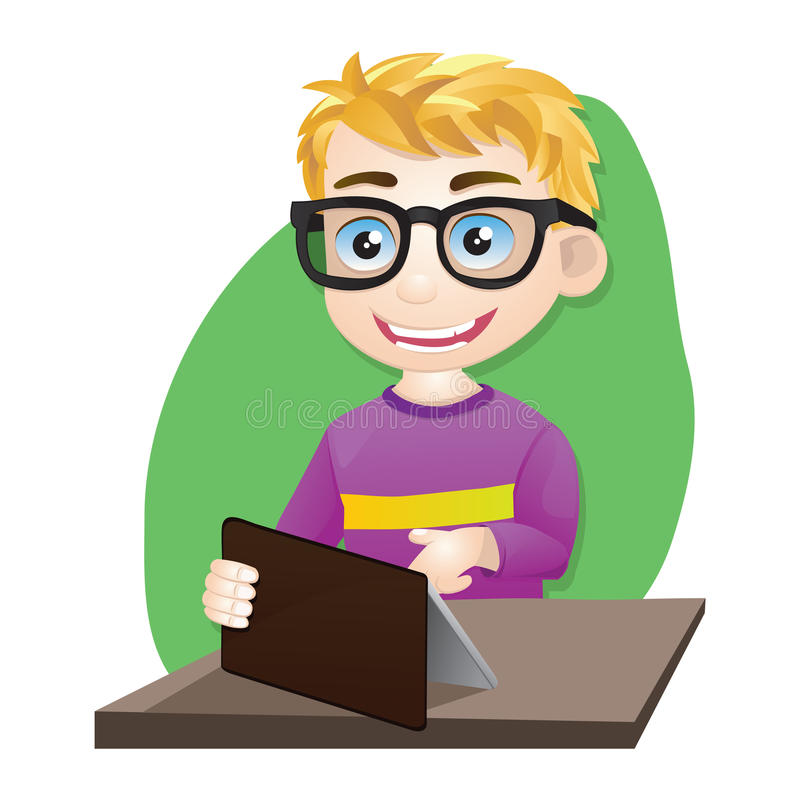 Smart Boy Playing Tablet royalty free illustration