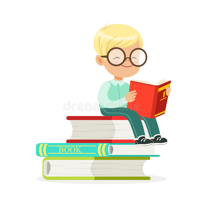 Smart boy sitting on pile of books and reading a book, kid enjoying reading, colorful character vector Illustration. On a white background royalty free illustration