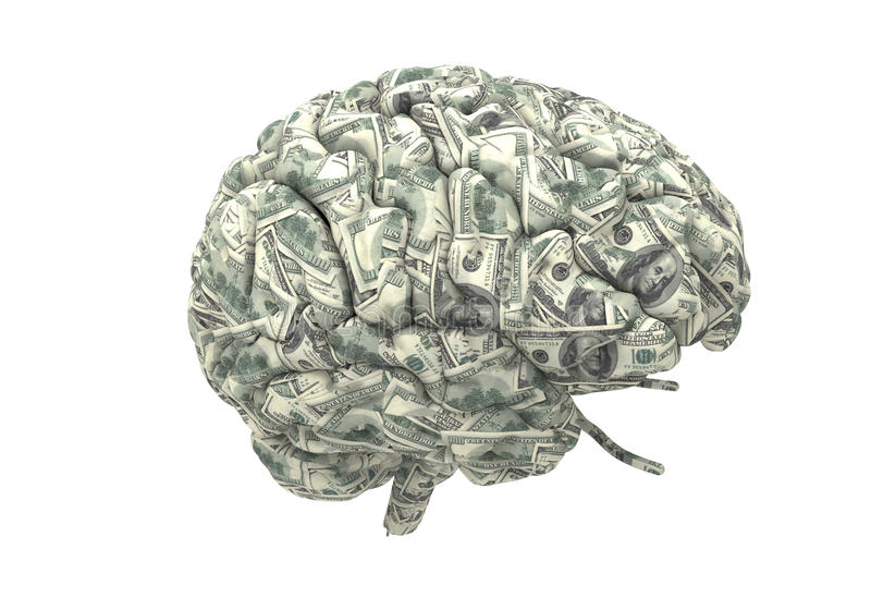 Smart brain can earn more money stock illustration
