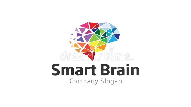 Smart Brain Polygon Logo royalty free illustration