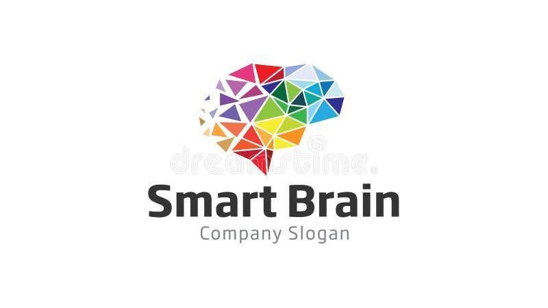 Smart Brain Polygon Logo royaltyfri illustrationer