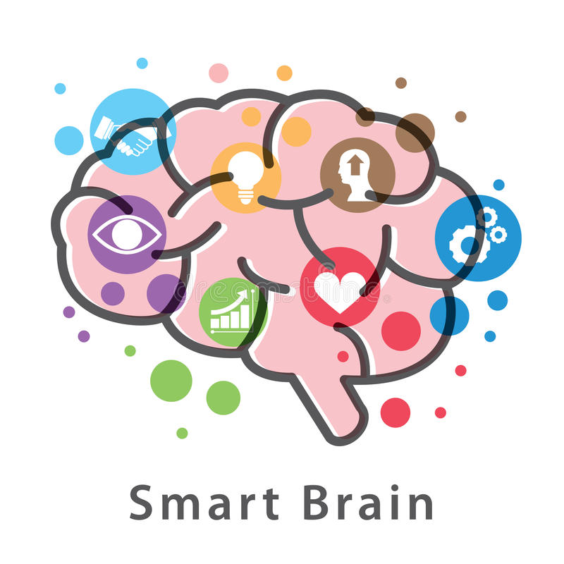 Smart Brain symbol icon design. Smart Brain symbol icon design isolated on white background. Vector illustration, Logo template design vector illustration