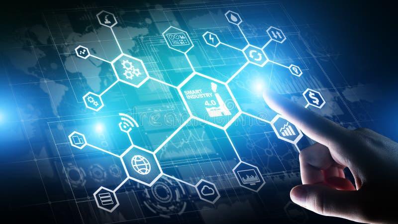 Smart bransch 4 0 internet för fabriks- automation av saker Affärs- och teknologibegrepp på den faktiska skärmen arkivbilder
