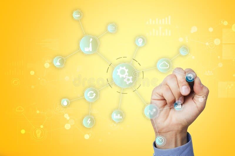 Smart bransch- och automationbegrepp E IOT teknologibegrepp royaltyfri bild