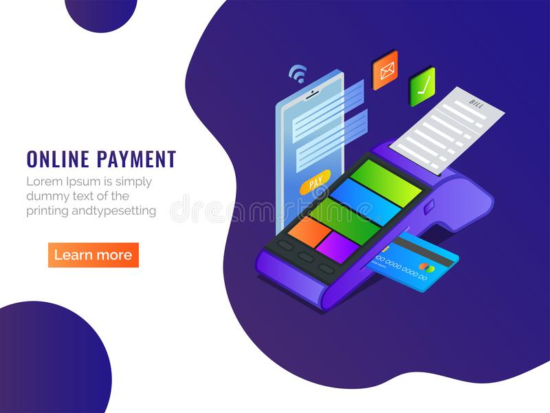 Smart Building concept based landing page design with 3d illust. Ration of building and web server with wireless internet connection vector illustration