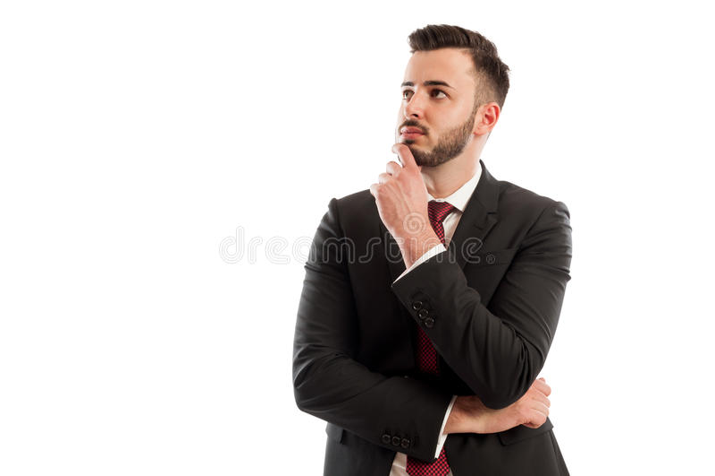 Smart business man thinking royalty free stock image