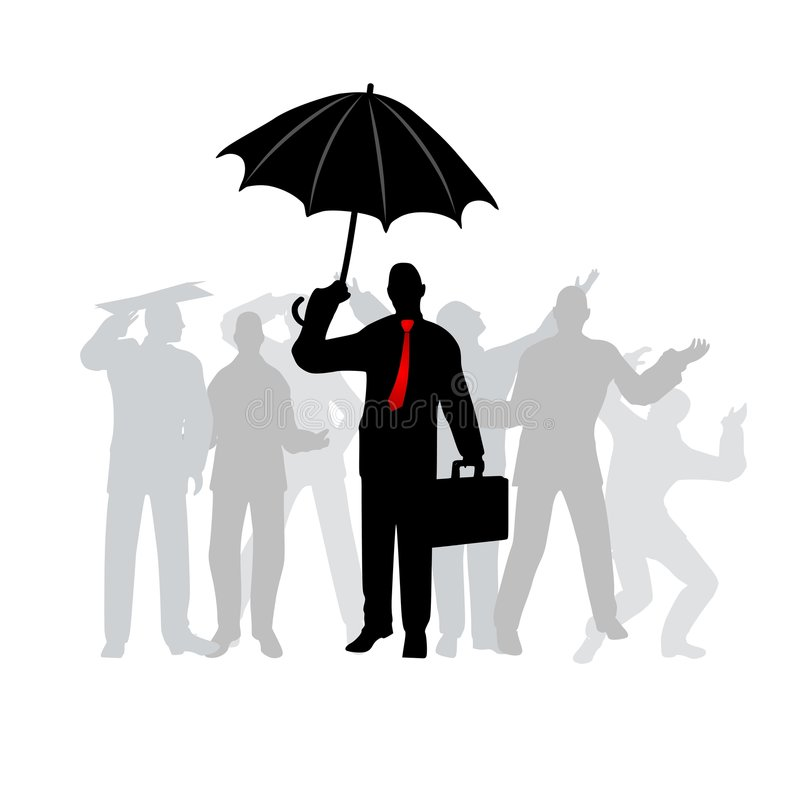 Smart Business Man With Umbrella vector illustration