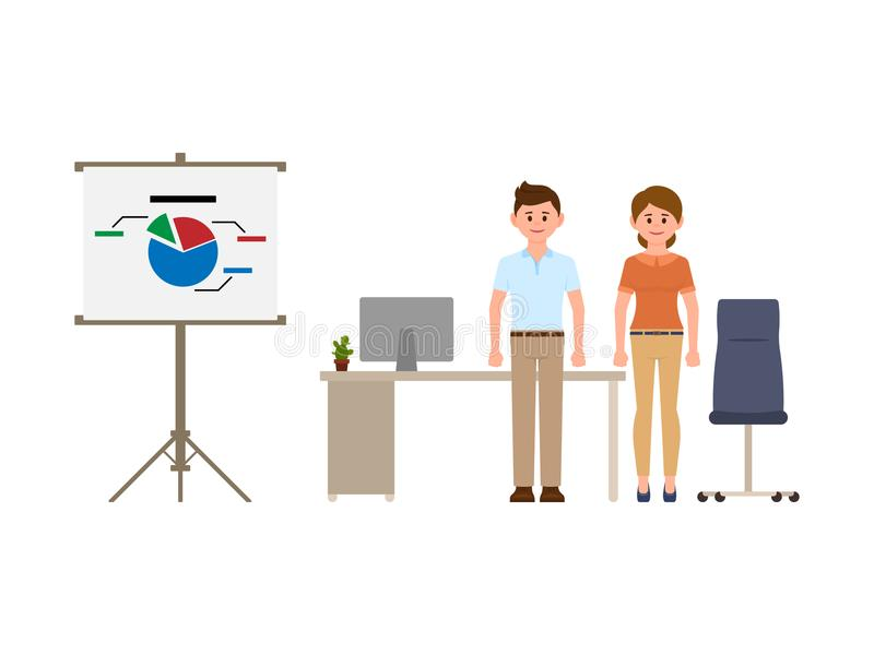 Smart business man and woman standing near office desk, flip chart and chair. Cartoon character casual look. Smart business man and woman standing near office vector illustration