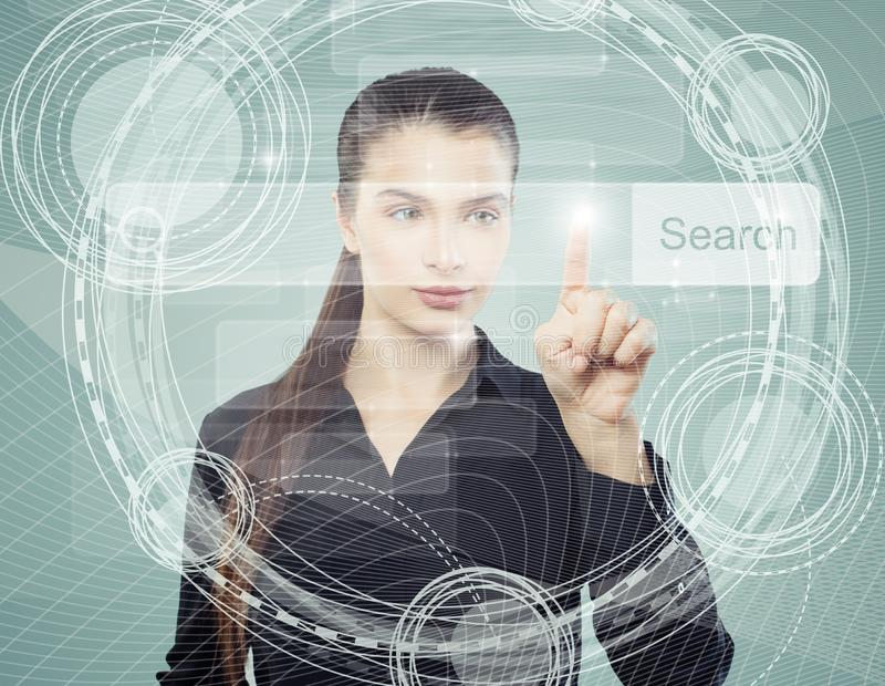 Smart business woman pointing to empty address bar in virtual web browser. Seo, internet marketing or distance learning concept royalty free illustration